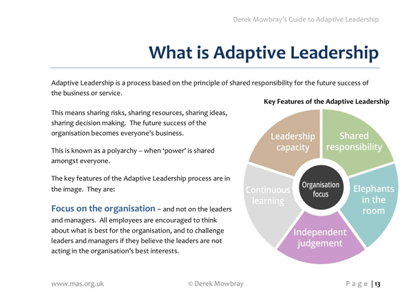 adaptive leadership Are you an adaptive leader this adaptive leadership course is designed to help leaders drive organisational change and create learning organisations.